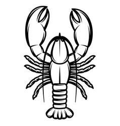 Monochrome with lobster for design vector