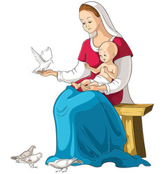 Mother mary holding baby jesus cartoon vector