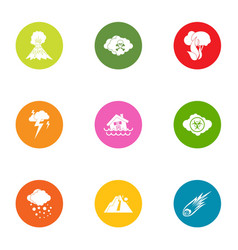 Natural intervention icons set flat style vector