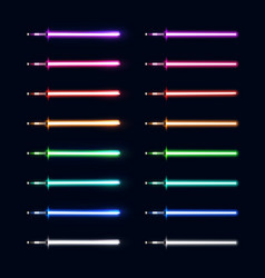 neon light swords set colorful sabers collection vector image