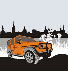 Off road car in natur vector