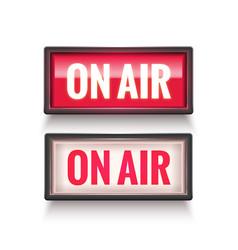 On air studio light sign media broadcasting vector