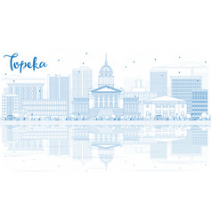 outline topeka skyline with blue buildings and vector image