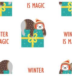 pattern sloth sleeping on gift vector image