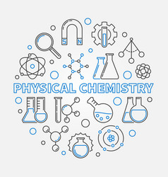 physical chemistry education round linear vector image