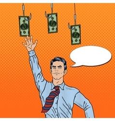 Pop Art Businessman Jumping for Money vector