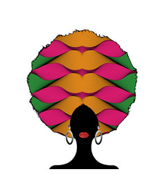 Portrait african woman silhouette afro curly hair vector