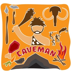 Poster of paleo food and caveman theme vector
