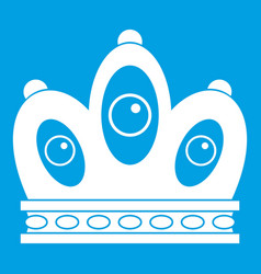 Queen crown icon white vector