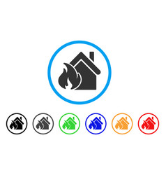 realty fire disaster rounded icon vector image