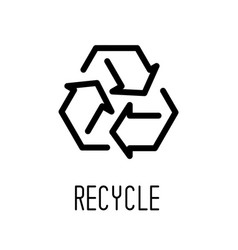 recycle sign line icon isolated on white vector image