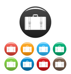 retro suitcase icons set color vector image