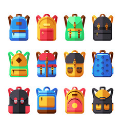 school backpacks set kids schoolbag flat vector image