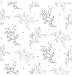 seamless leaves spring pattern line style light vector image