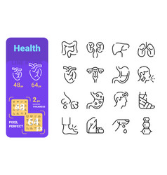 Set medicine simple lines icons organs and vector
