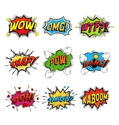 Set of comic speech bubble vector