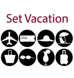 set of vacation icon and logo of airplane vector image