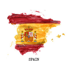 Spain flag watercolor painting design country vector