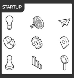 startup outline isometric icons vector image