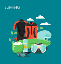 surfing equipment flat style design vector image