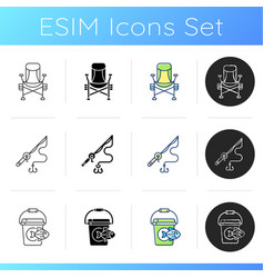 tools for fishing icons set vector image