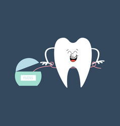 Tooth and dental floss vector