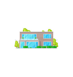 townhouse facade exterior isolated chalet building vector image