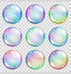 Transparent colored soap bubbles vector