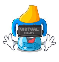 Virtual reality cartoon baby drinking from vector
