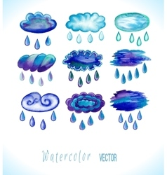 Watercolor rainy clouds vector image
