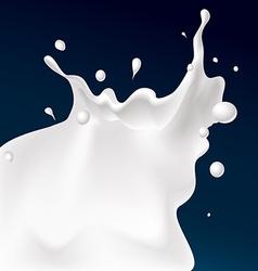 White splash milk on dark blue background vector