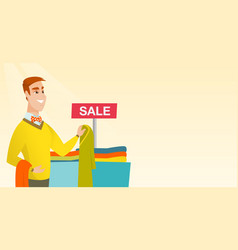 Young man choosing clothes in the shop on sale vector