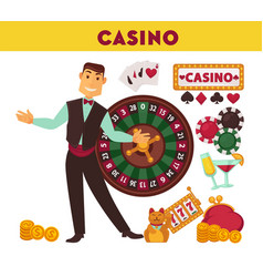 casino worker and game equipment set vector image