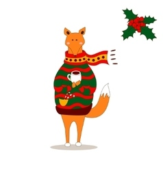 Cute fox christmas holiday greeting card vector image