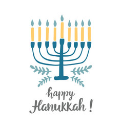 happy hanukkah greeting card with modern lettering vector image
