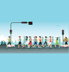 marathon in the city vector image