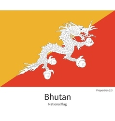National flag of Bhutan with correct proportions vector image