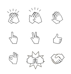 Set of two hands icons Handshake clapping vector image vector image