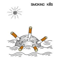 smoking kills conceptual banner vector image
