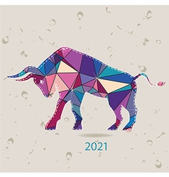 The 2021 new year card with Bull made of triangles vector image vector image
