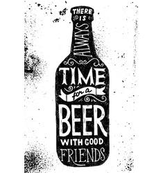 Beer bottle with type design vector image vector image