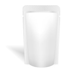 Blank white bag packaging for liquids drink or vector image