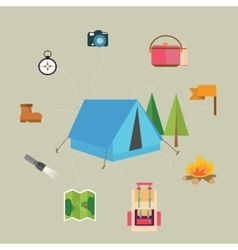Camping hiking icon set of map tent compass flag vector