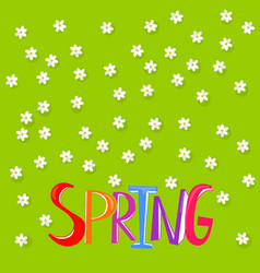 floral background with spring word vector image