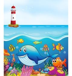 Sea animals swimming under the ocean vector image vector image