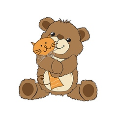 teddy bear playing with his toy a cat vector image vector image
