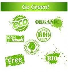 grunge bio labels vector image