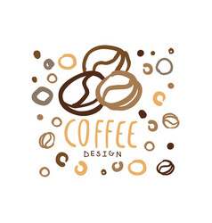 hand drawn original logo with coffee beans vector image