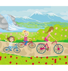 Mother and daughters biking in the park vector image