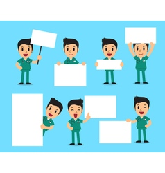 Set of male nurse with blank white banner vector image vector image